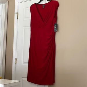 Lauren Ralph Lauren Red Ruched Jersey VNeck Dress
